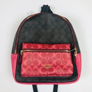 Coach Charlie Canvas Mini Backpack Brown & Pink